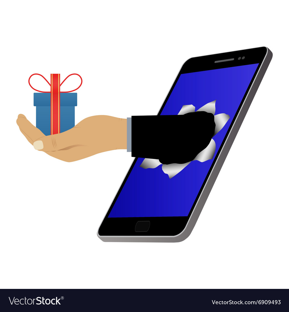 Hole on the screen and hand with a gift