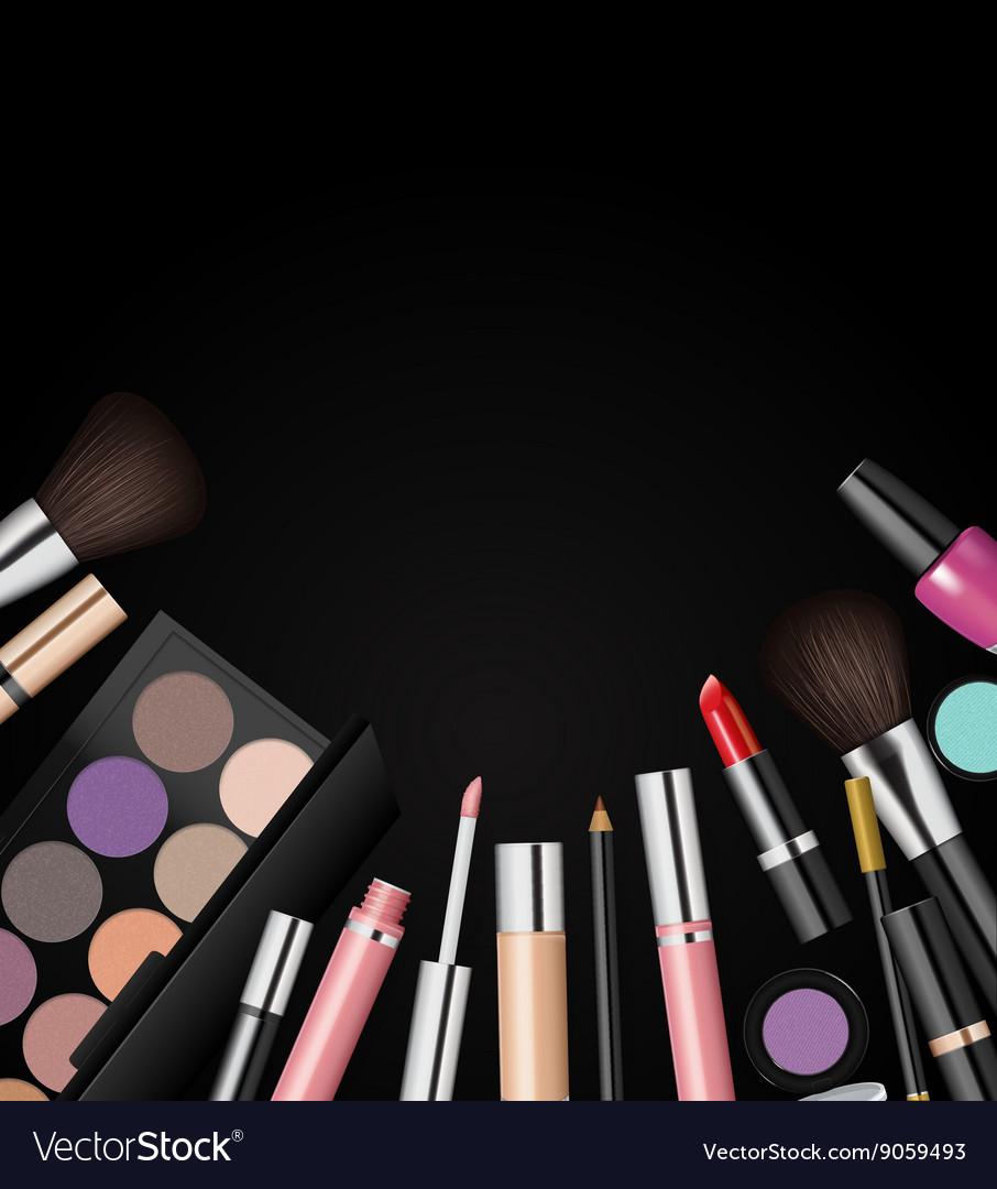 Cosmetics: Makeup Cosmetics Tools Fashion Background Vector Image