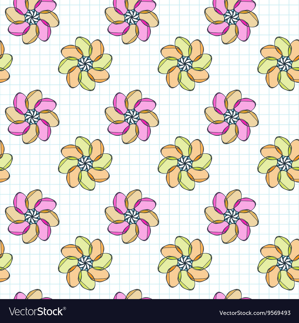 Seamless pattern of flowers on a checkered