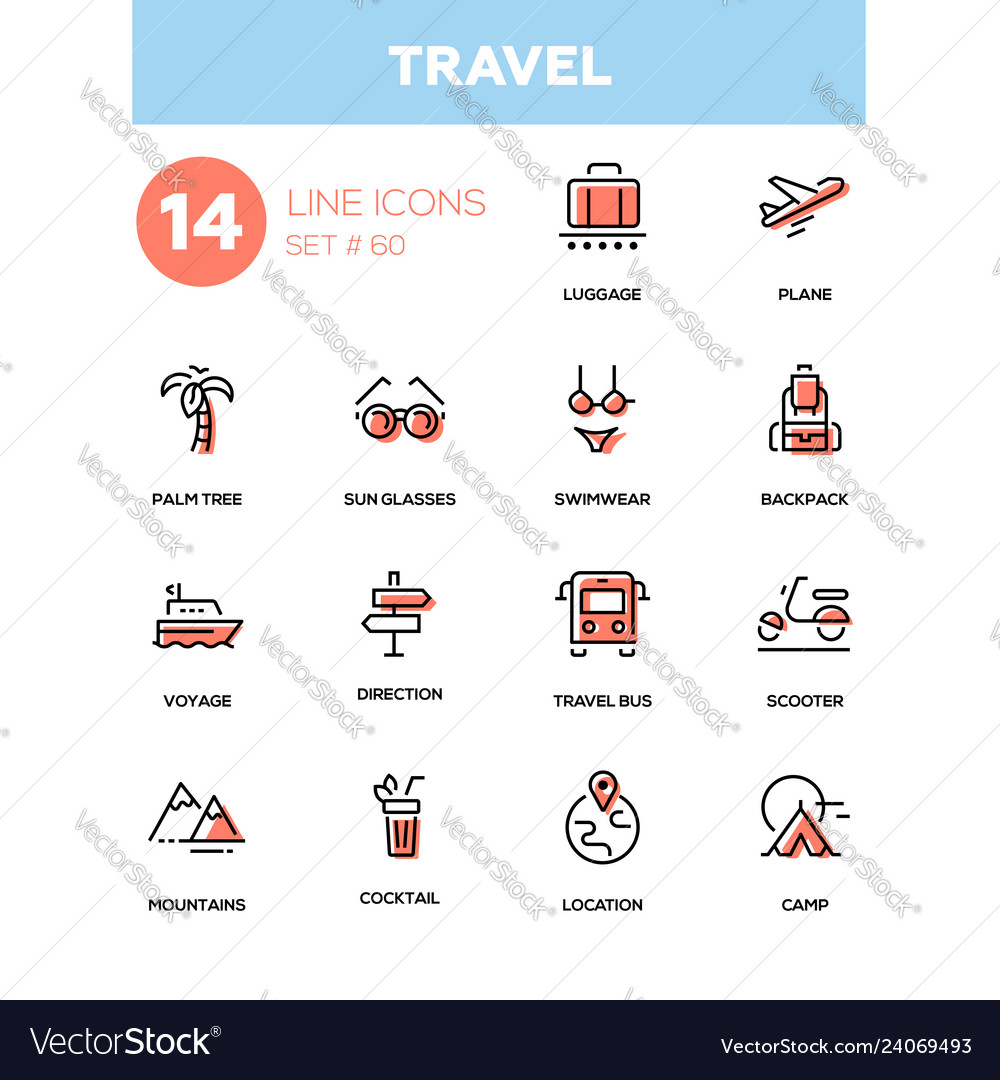 Travel - line design style icons set