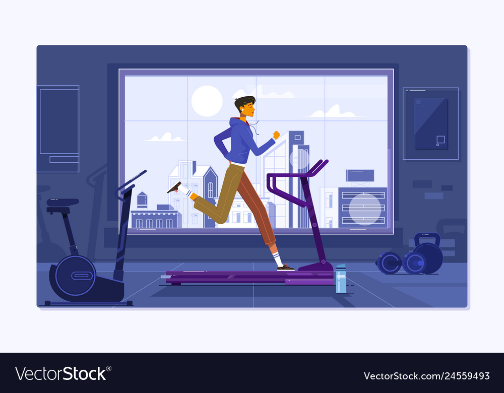 Young man in sportswear running on treadmill at