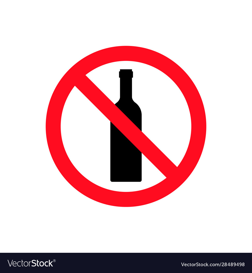 Alcohol not permitted allowed sign bottle glass