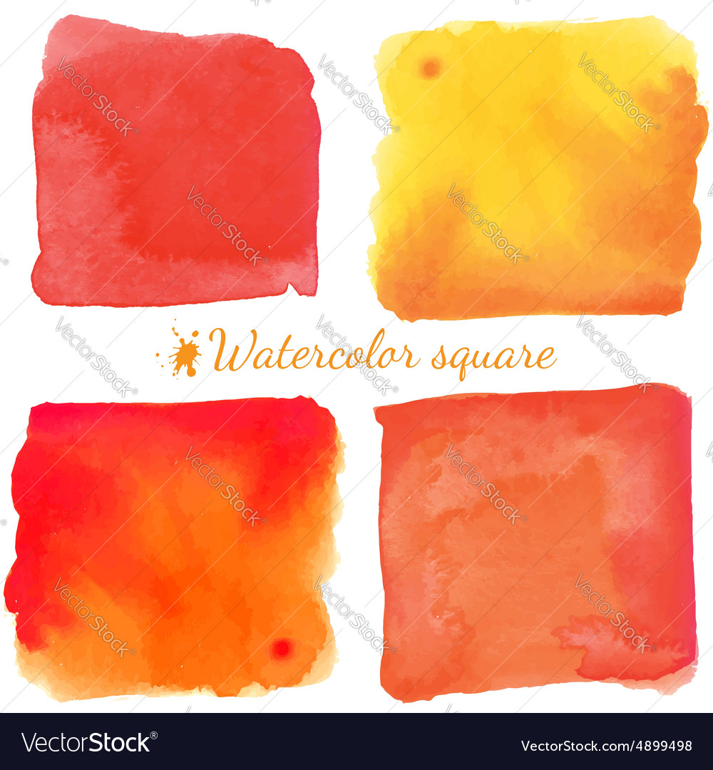 Beautiful watercolor square elements