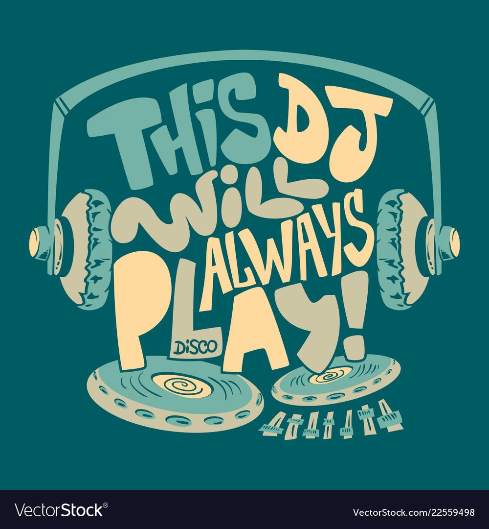 Dj headphone typography and tee shirt graphics