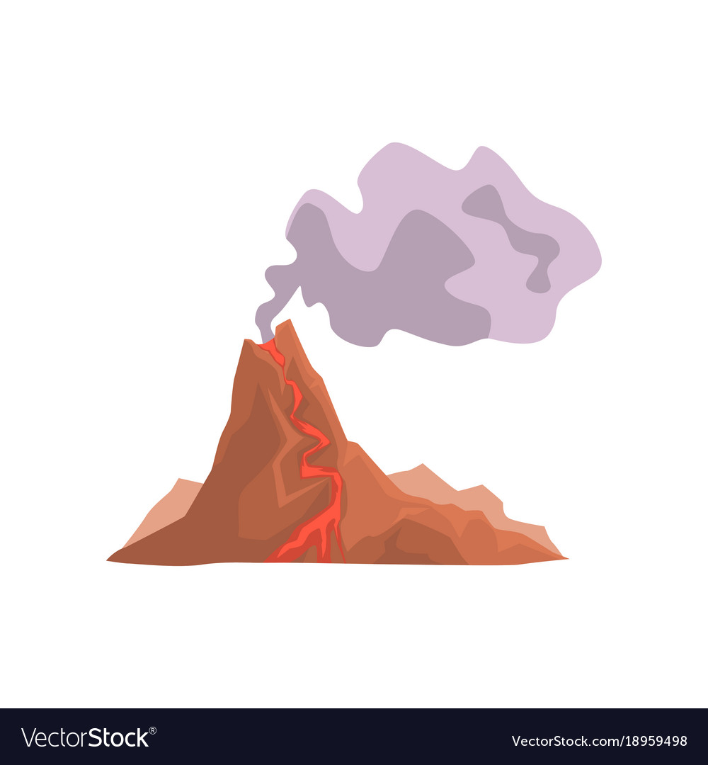 Fired up volcanic mountain with magma and hot lava vector image