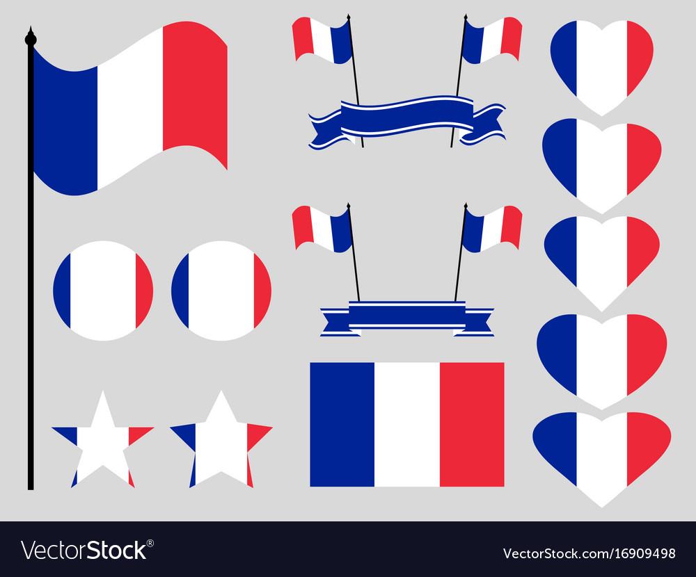France flag set collection of symbols flag