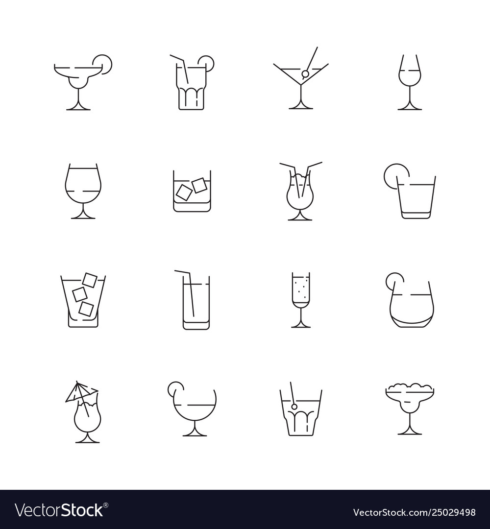 Glass for drink icons cocktail and alcoholic