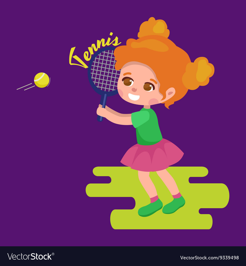 Happy girl playing tennis kids sport childrens