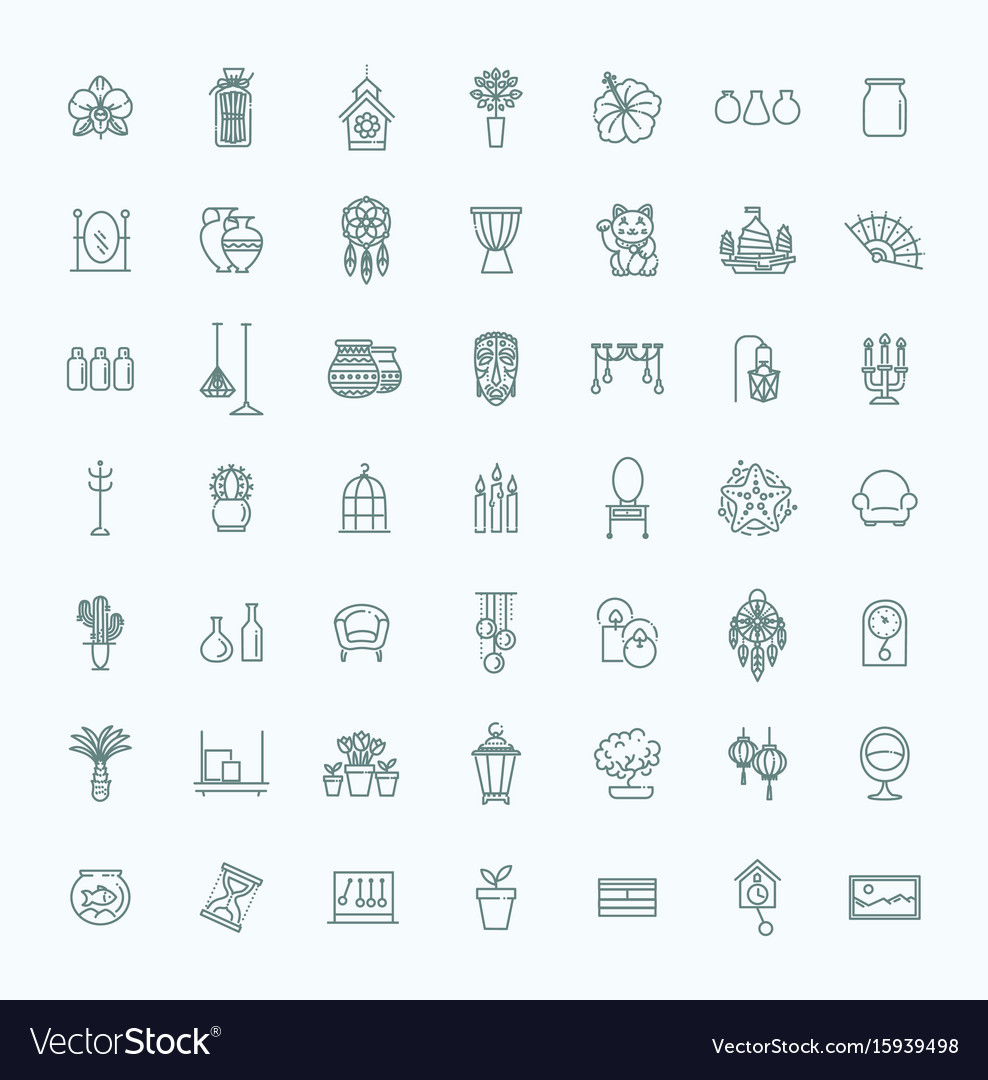 Home Decoration Thin Line Icons Royalty Free Vector Image