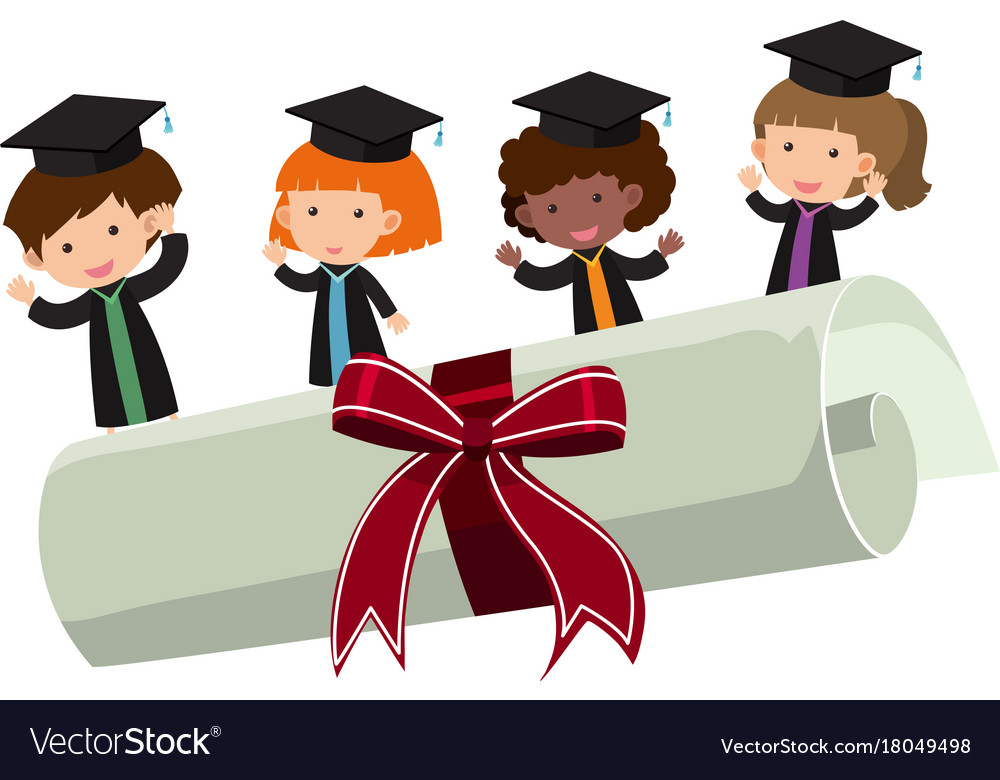 Kids with graduation gown and roll diploma Vector Image