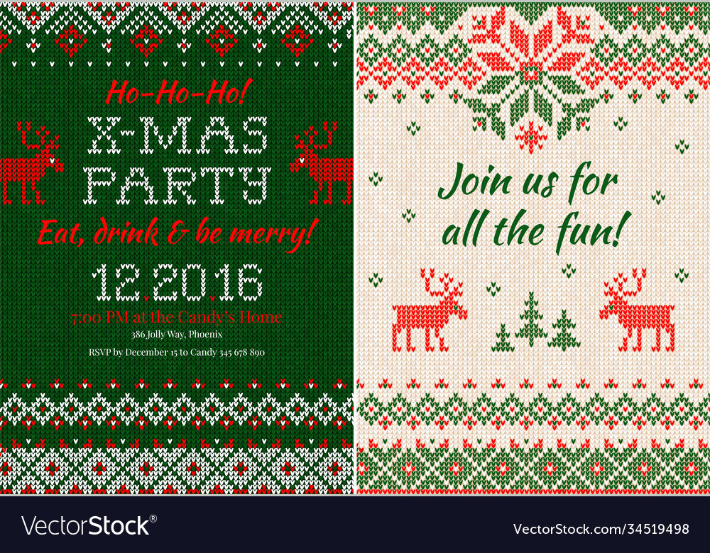 Knitted invitation to christmas x-mas party