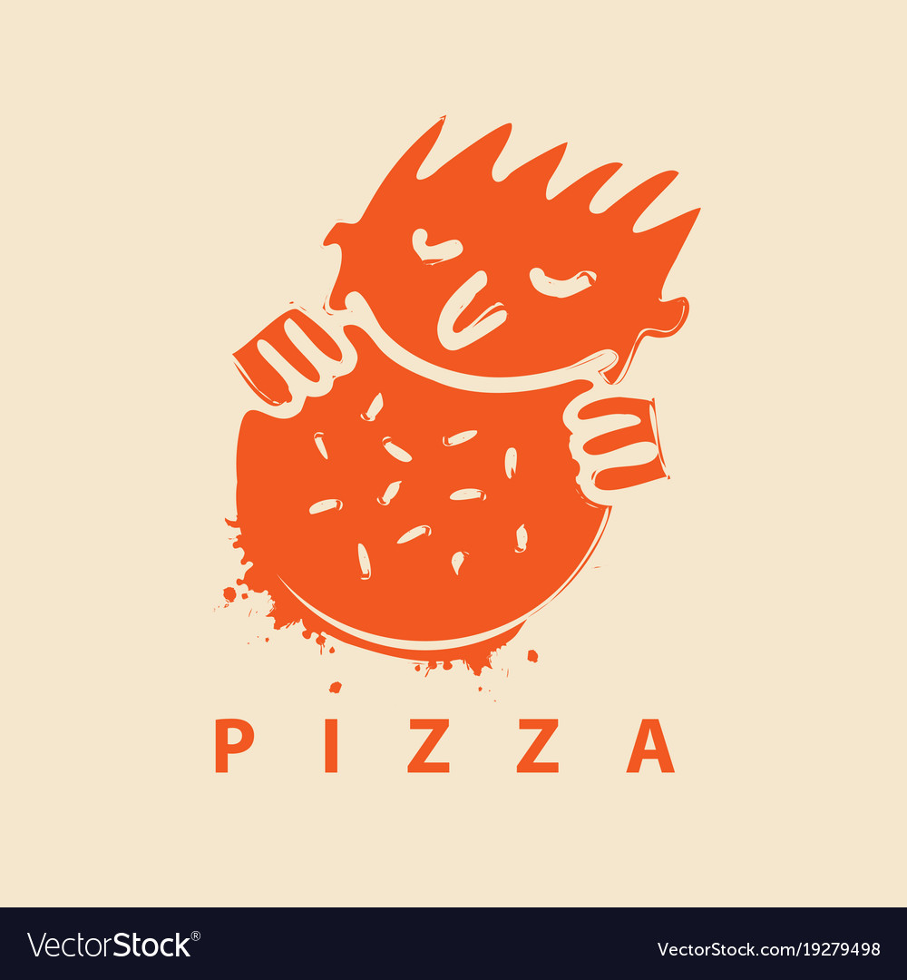 Logo for pizza restaurant with man who eats pizza