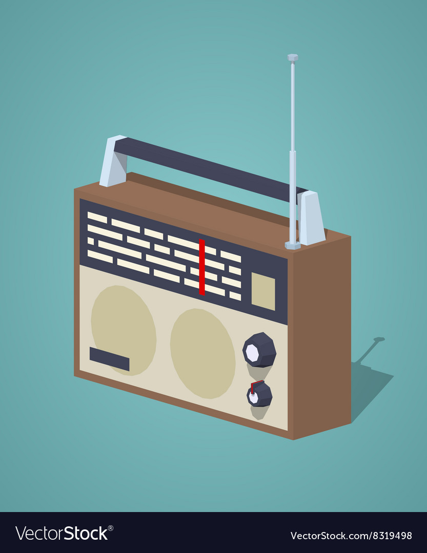 Low poly retro radio set