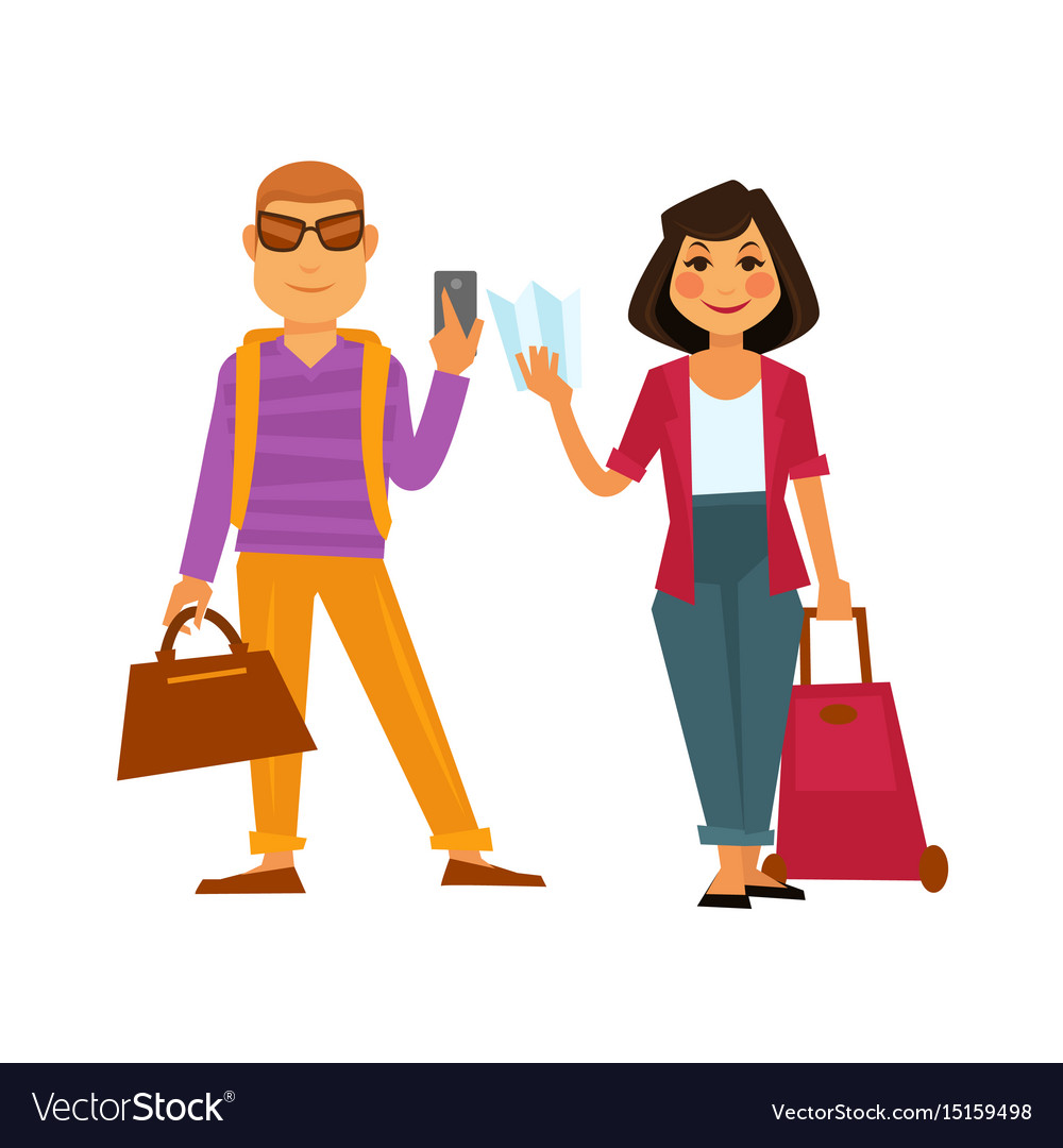 People travel flat icons man and woman on