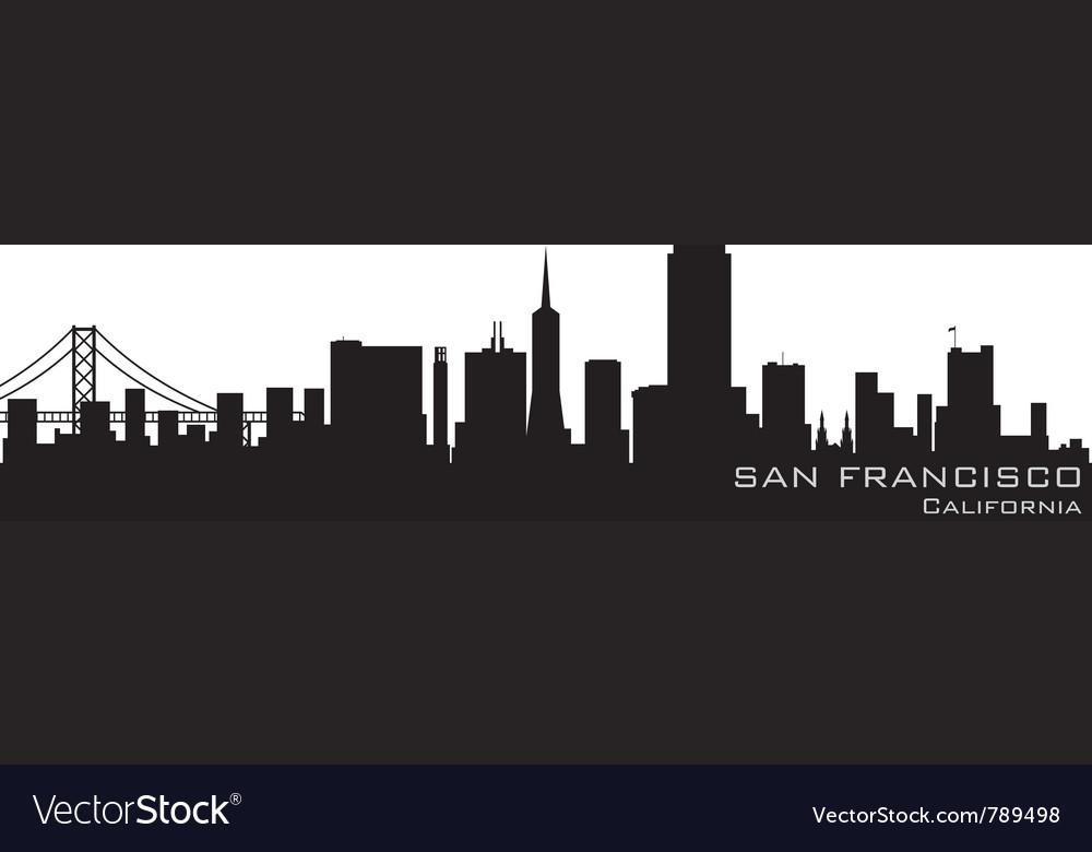 San francisco california skyline detailed silhouet vector image