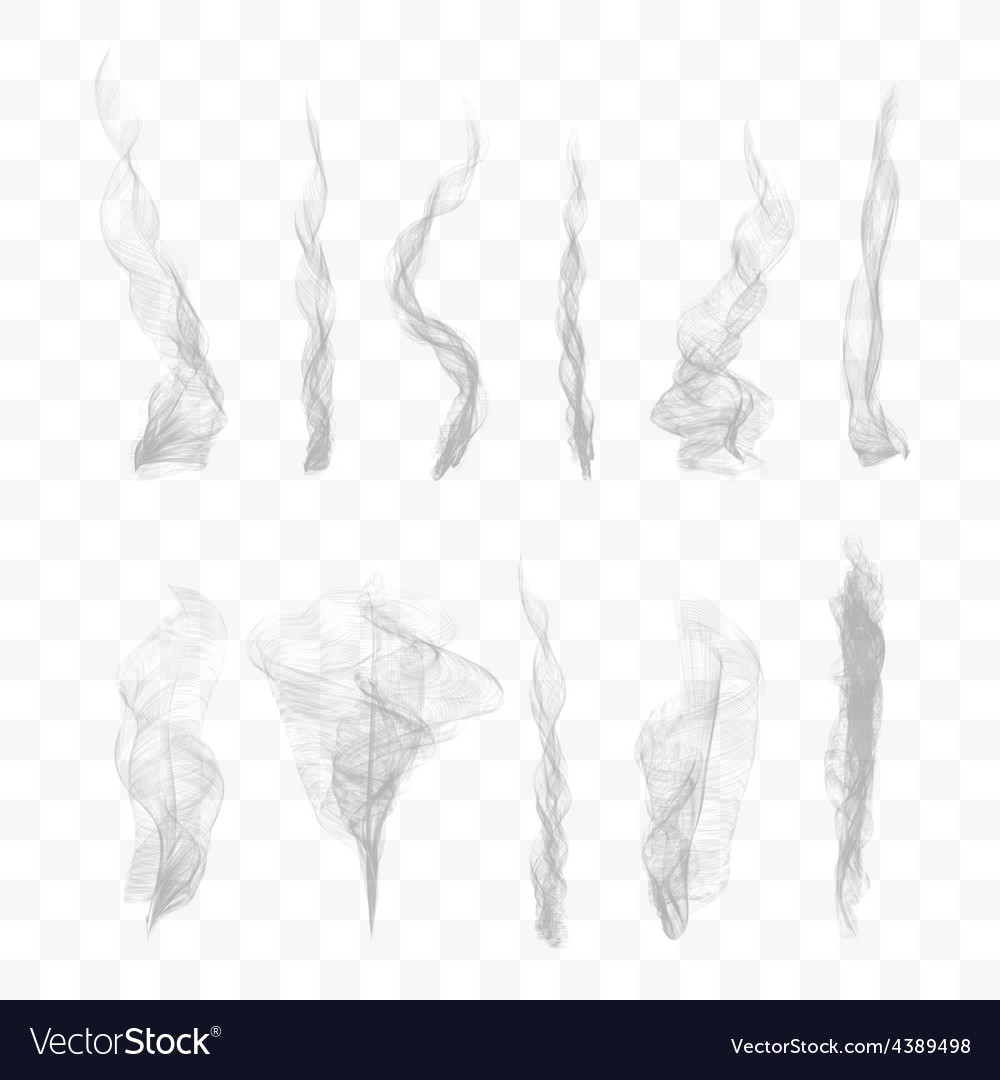 Set of 10 smoke on transparent background