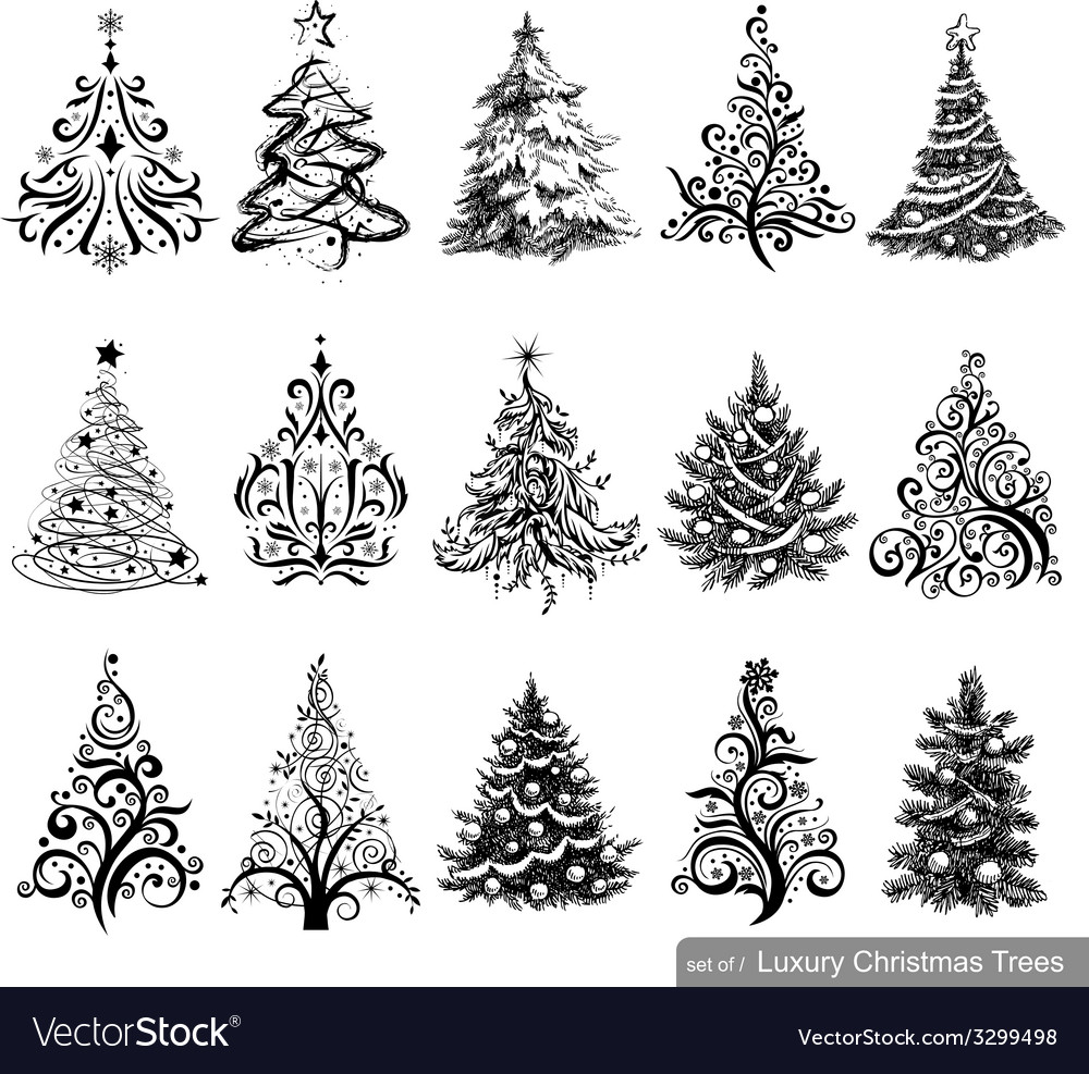 Christmas Tree Vector.Set Of Luxury Christmas Trees