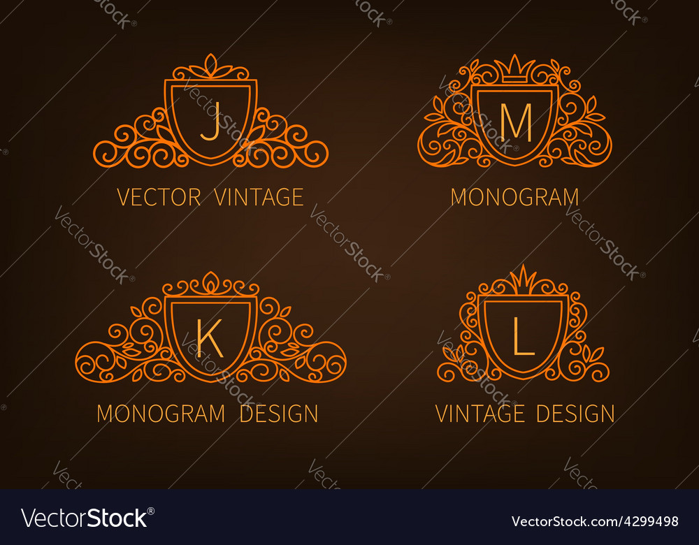 Set outline monograms frame