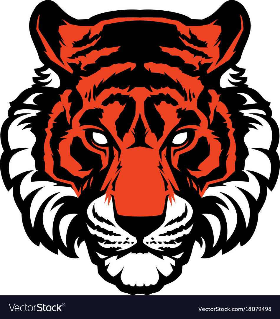 Tiger animal mascot head logo vector image