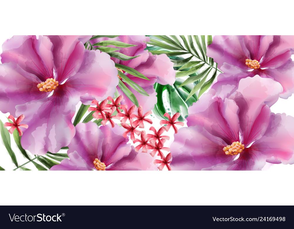 Tropic flowers watercolor beautiful exotic