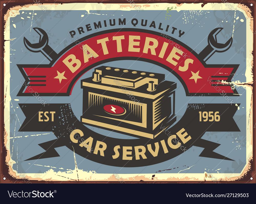 Auto batteries retro poster design
