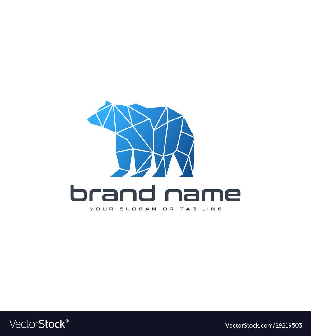 Bear technology logo design template white