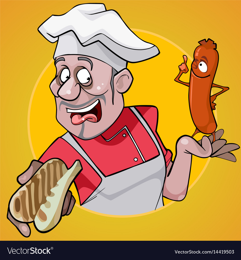 Cartoon male chef holding a bun and sausage