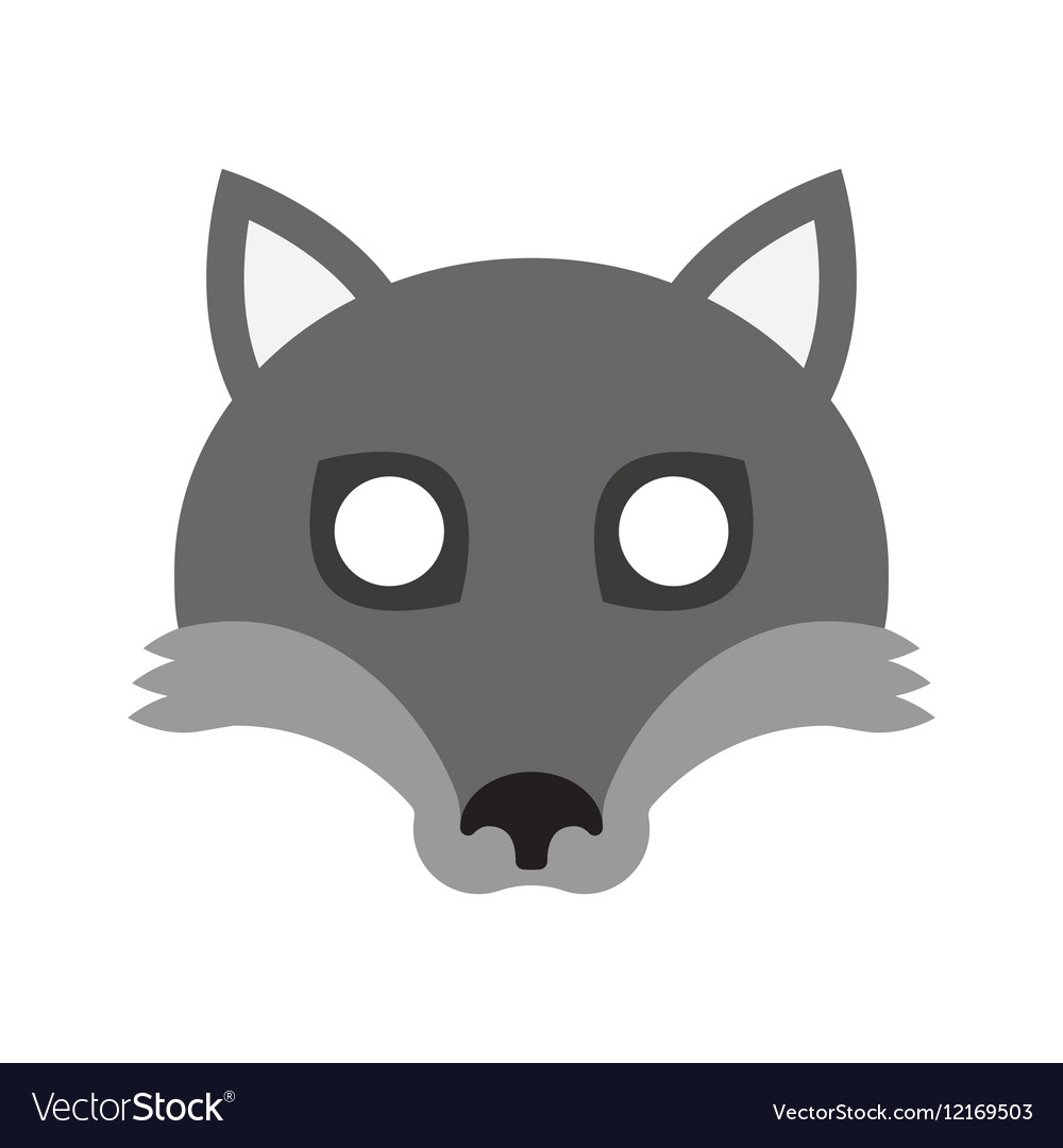 Cartoon mask of wolf for halloween vector image