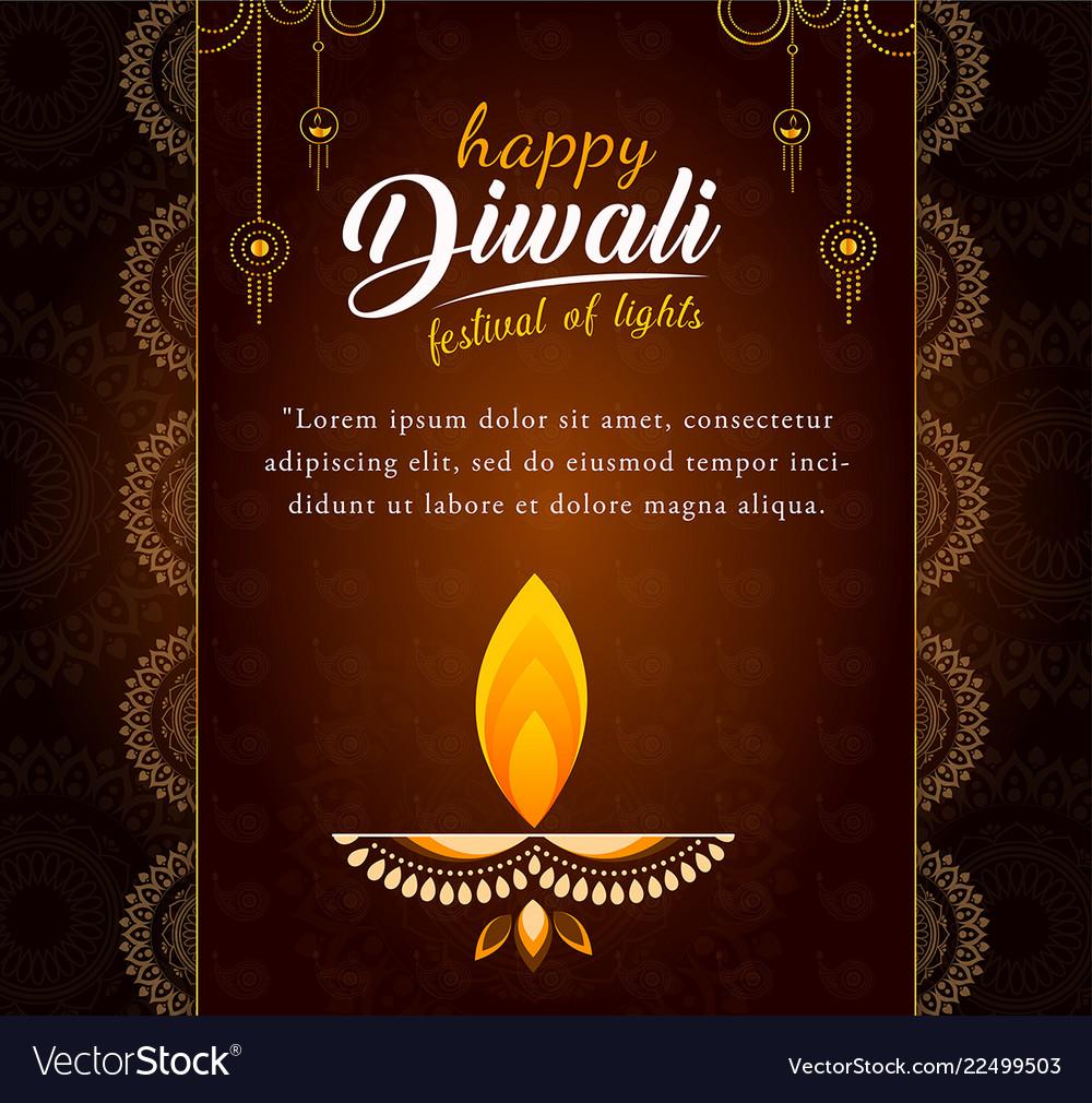 Decorated diwali card design