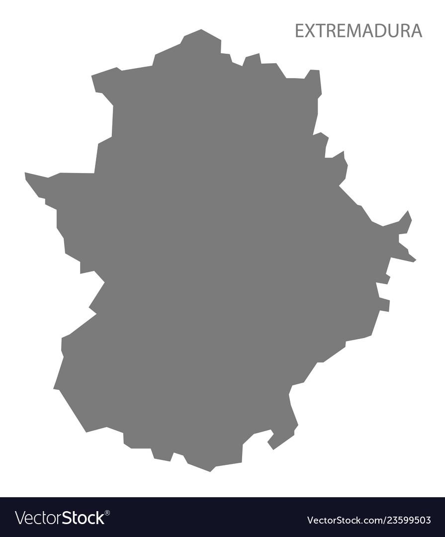 Map Of Spain Extremadura.Extremadura Spain Map Grey