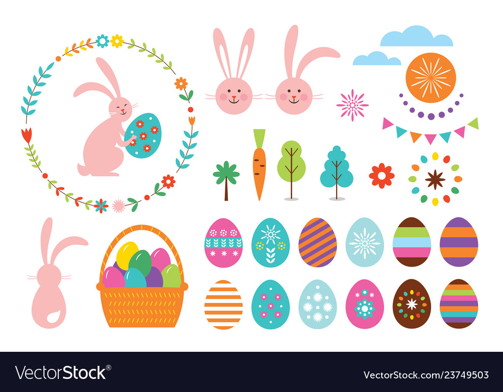 Happy easter set elements for your design