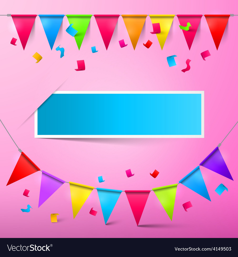 Pink Party Card - Bunting Confetti and Flags with