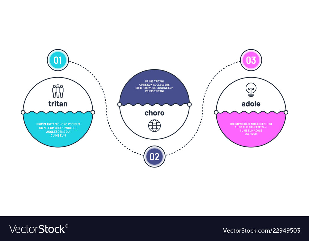 Process chart 3 step infographic elements