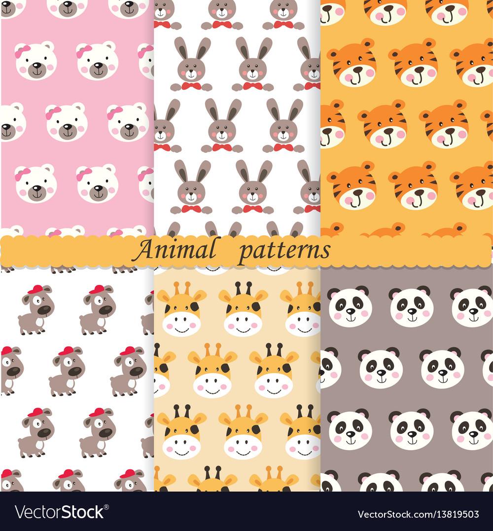 Set of cute animals seamless patterns