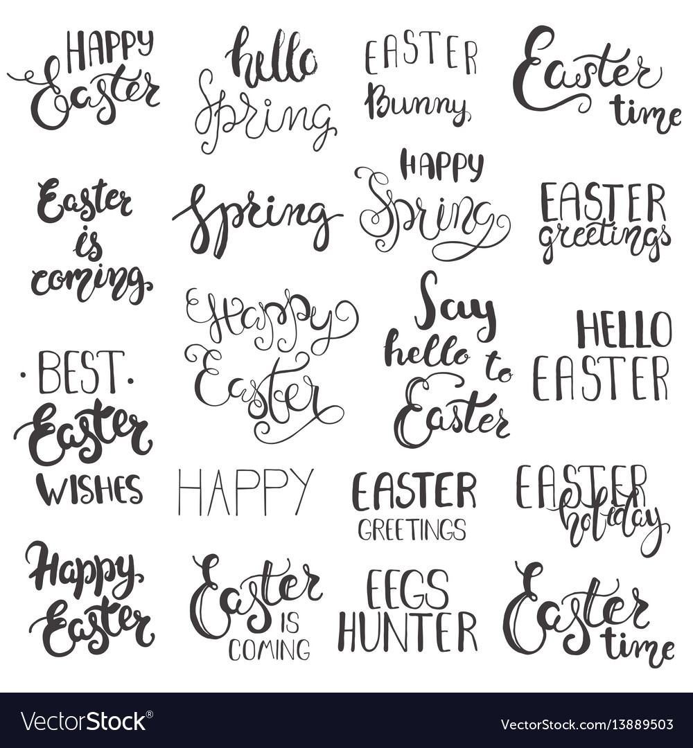 Set of easter hand drawn lettering