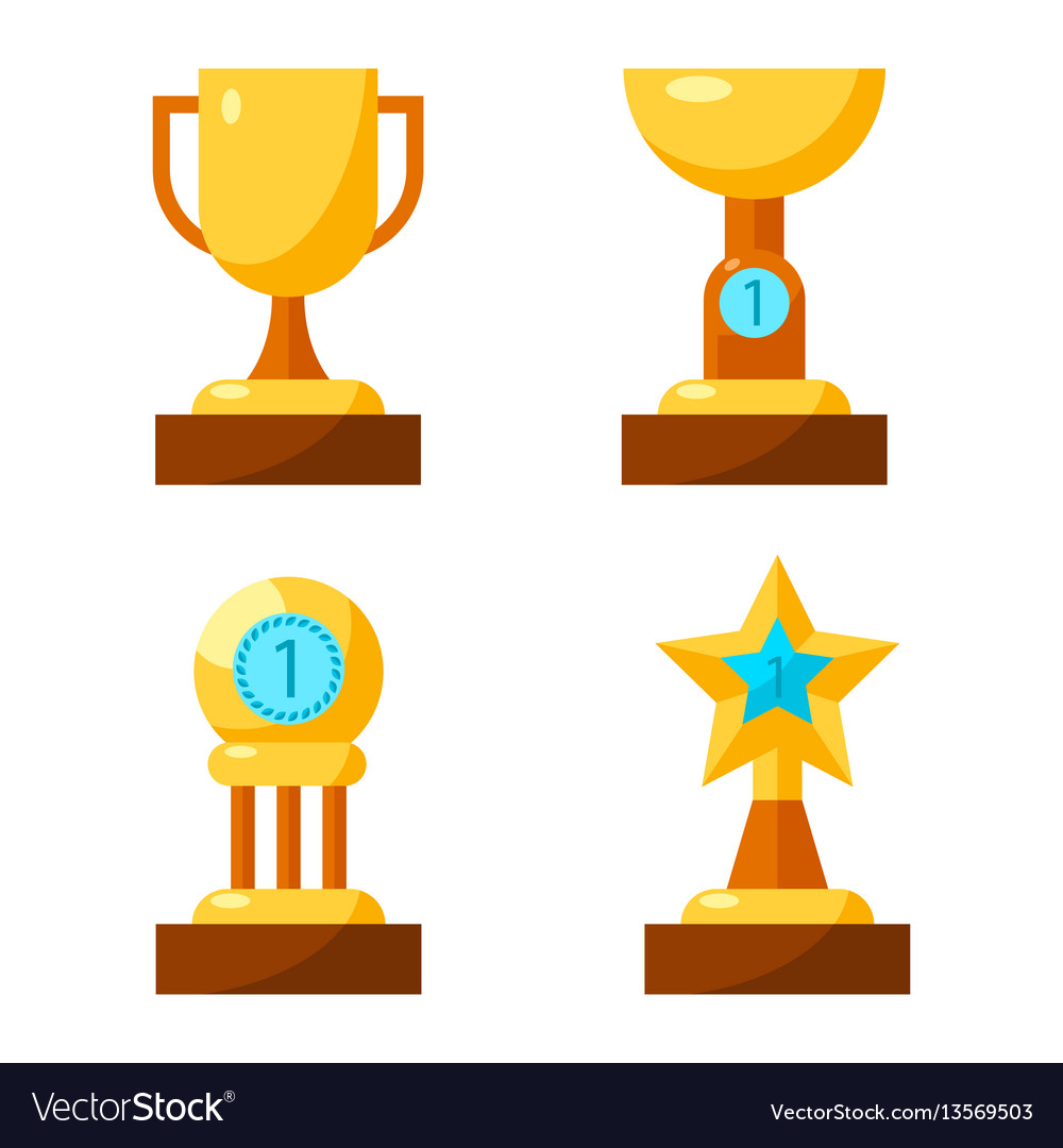 Trophy golden awards collection of four cups on
