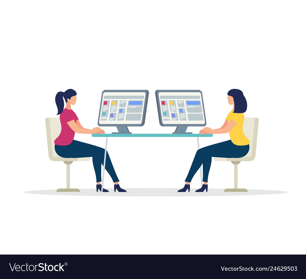 Two young women characters working on computers