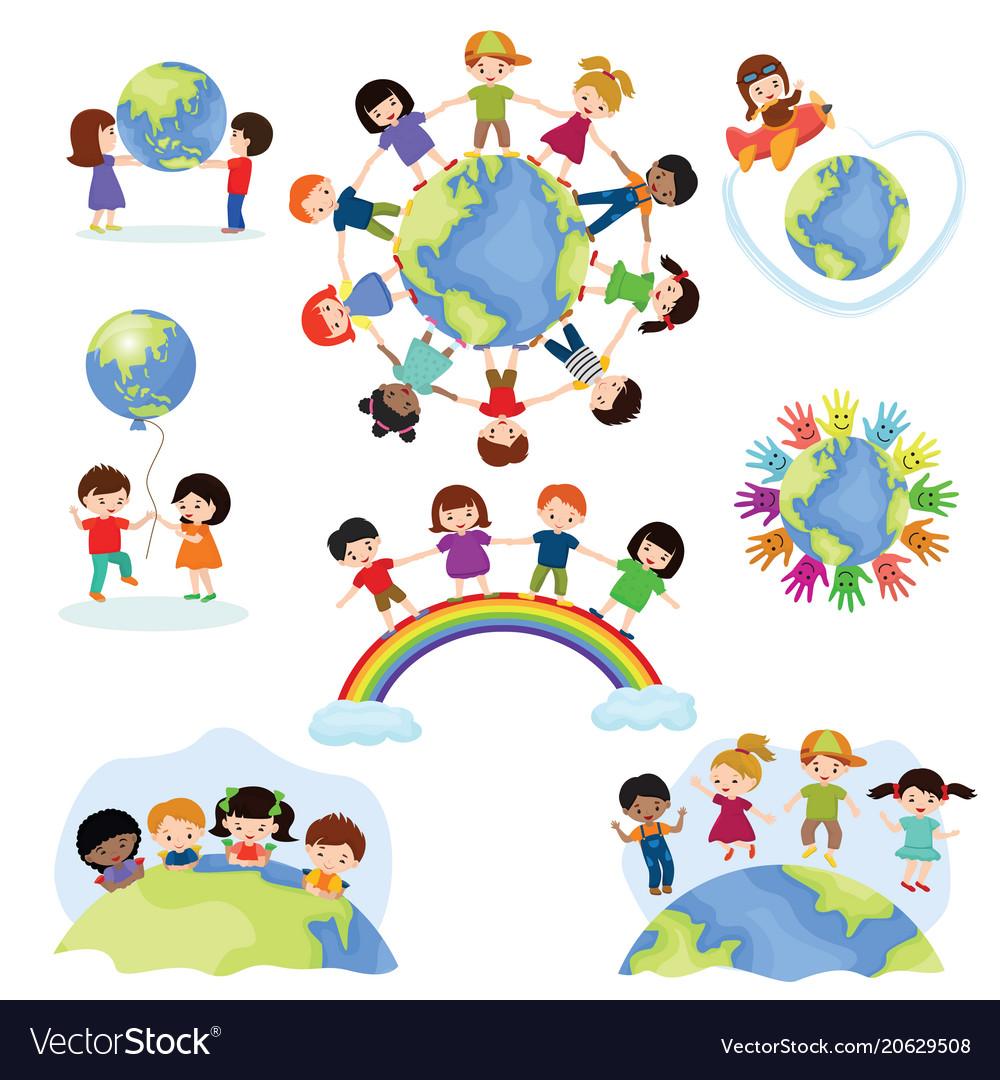 Children world happy kids on planet earth
