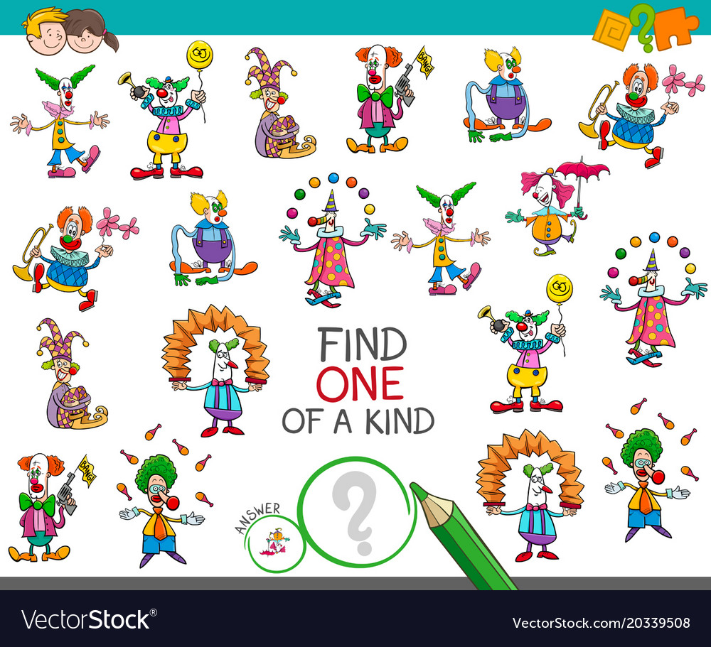 find one of a kind game with clown characters vector image