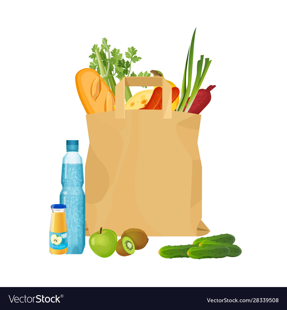 Full shopping bag market food and grocery