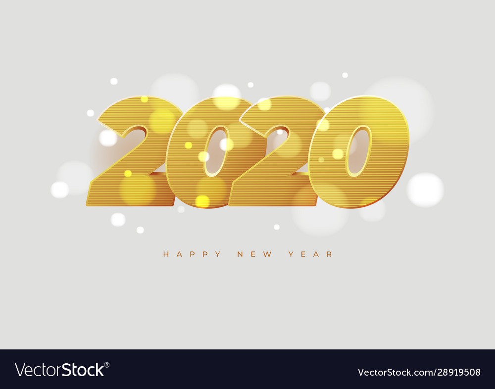 Happy new year 2020 banner golden luxury numbers