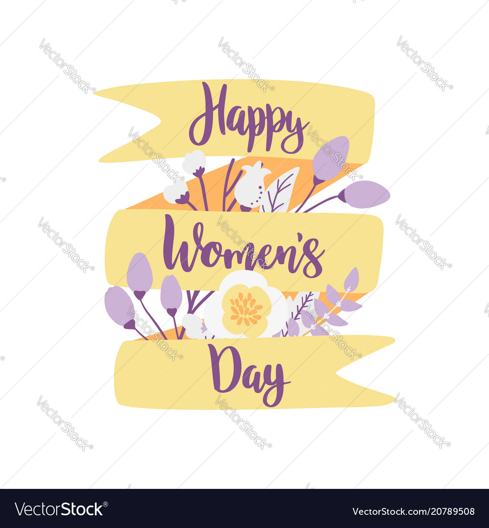 Happy womens day hand drawn with
