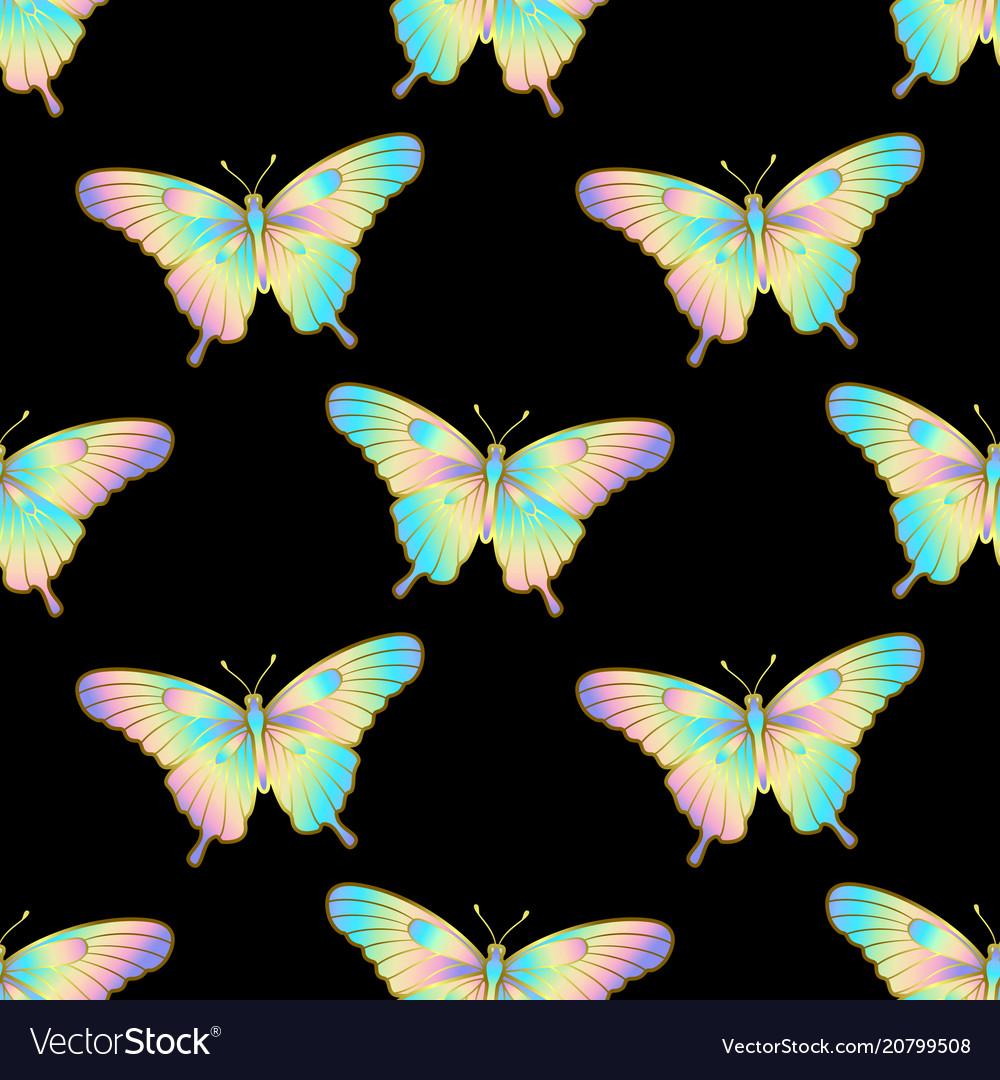 Holographic butterlfy seamless pattern
