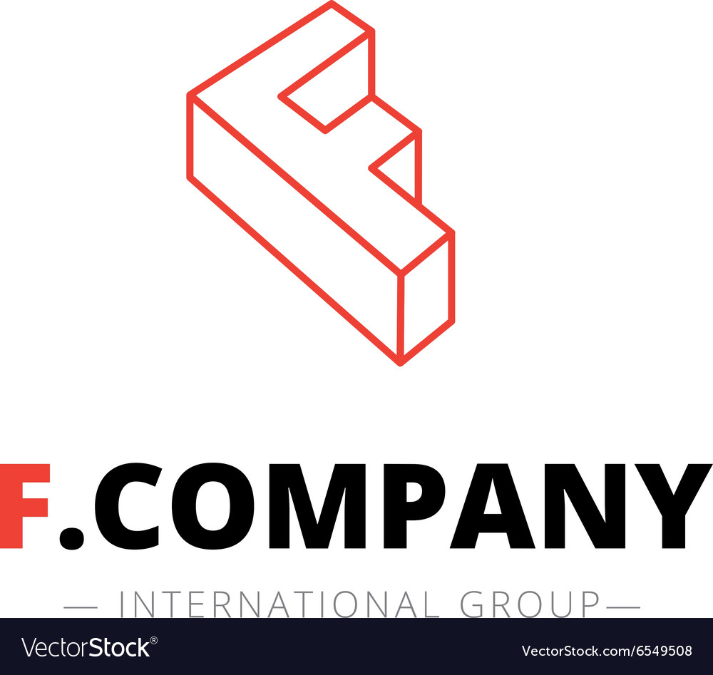 Isometric line style F letter logo Company