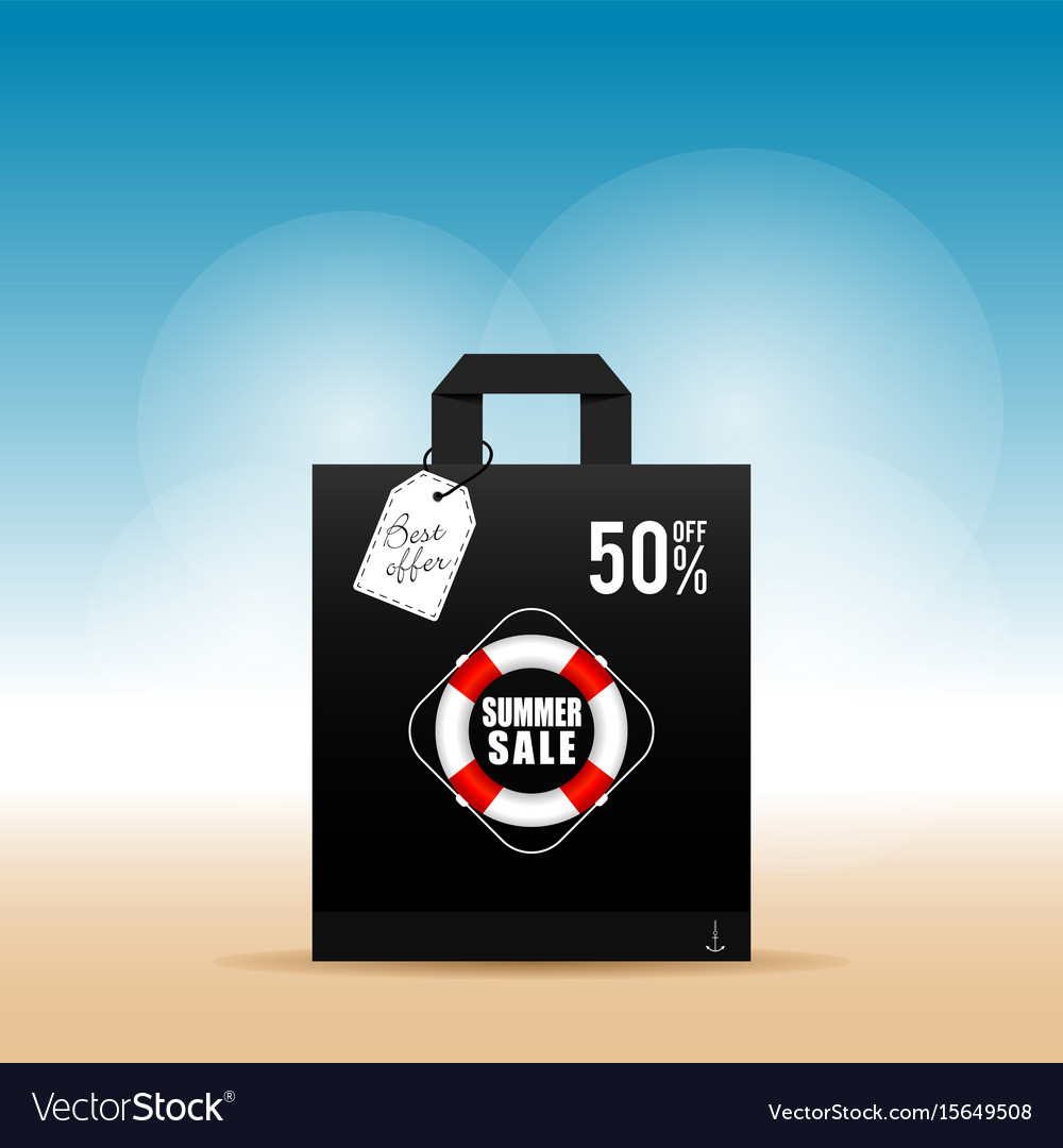 Paper bag with summer sale on it