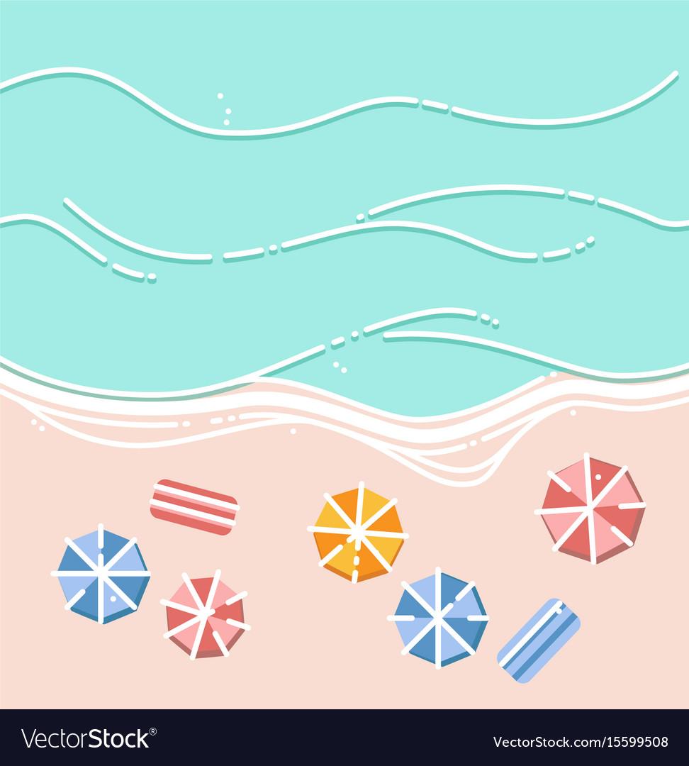 Sandy beach umbrellas and sea waves