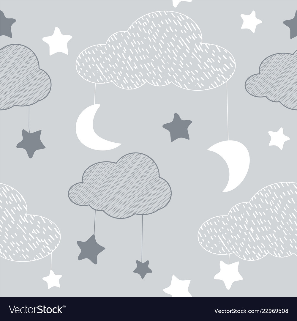 Seamless pattern with sky elements in line art