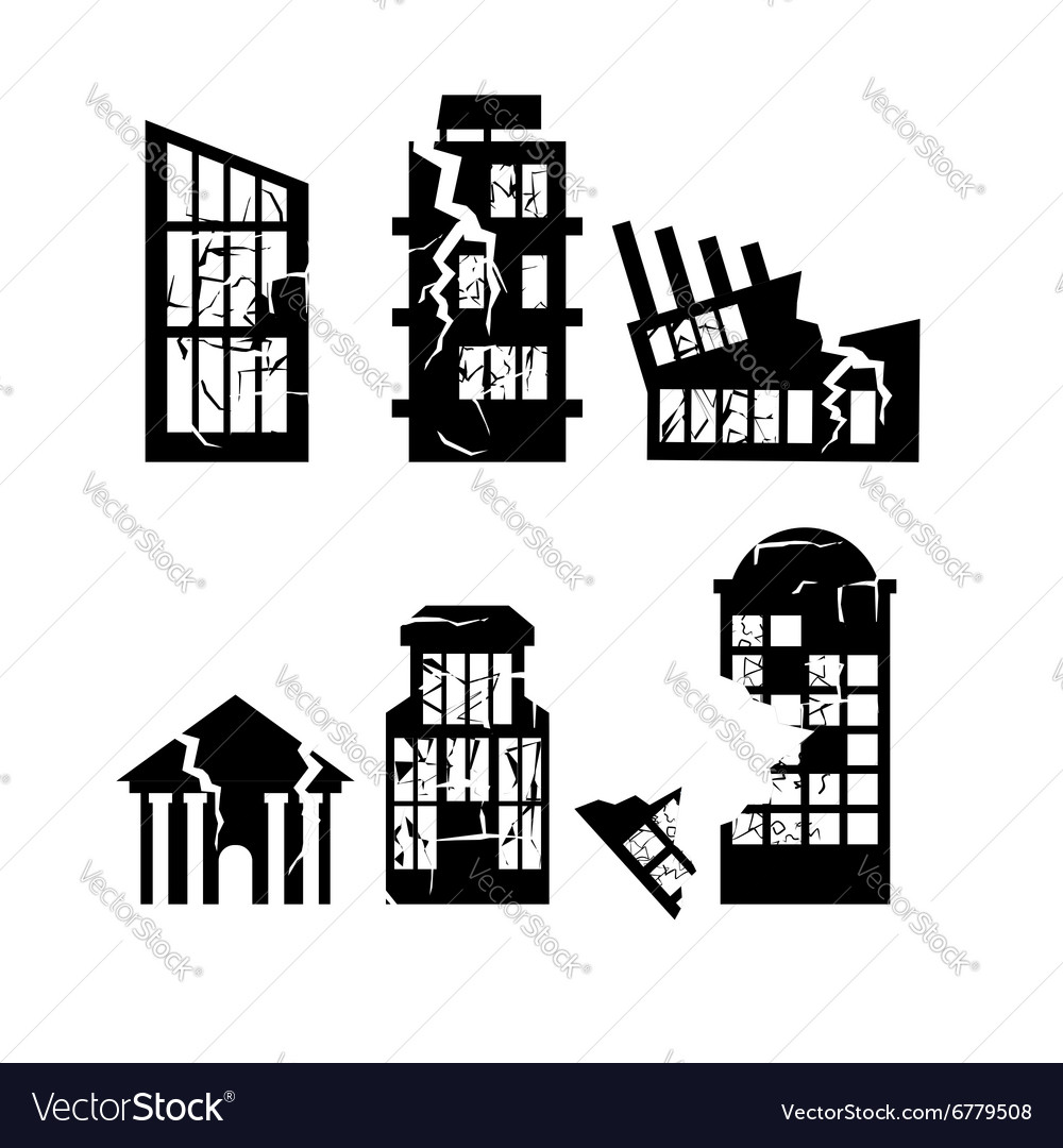 Set of destroyed buildings Home after earthquake vector image