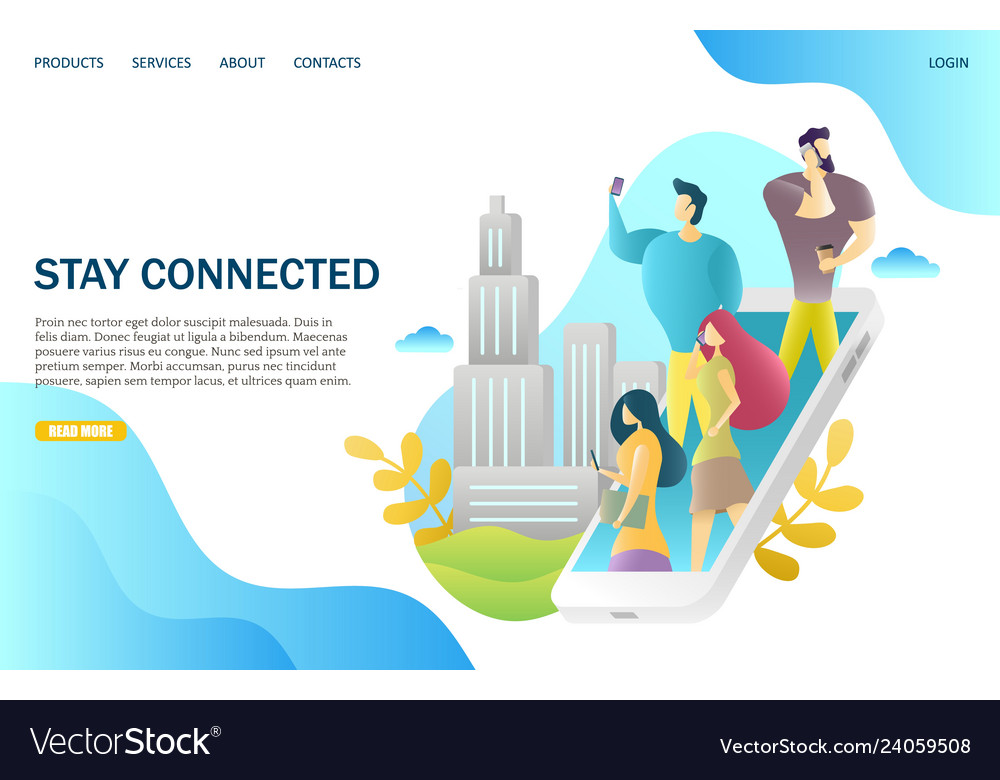Stay connected website landing page design