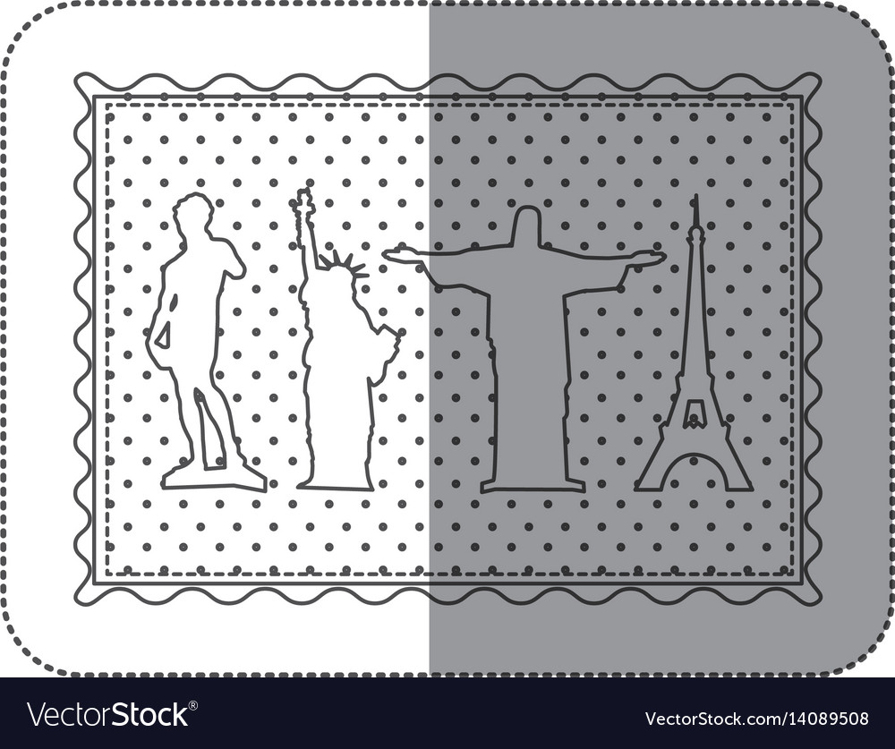 Sticker contour frame of set of the world landmark vector image